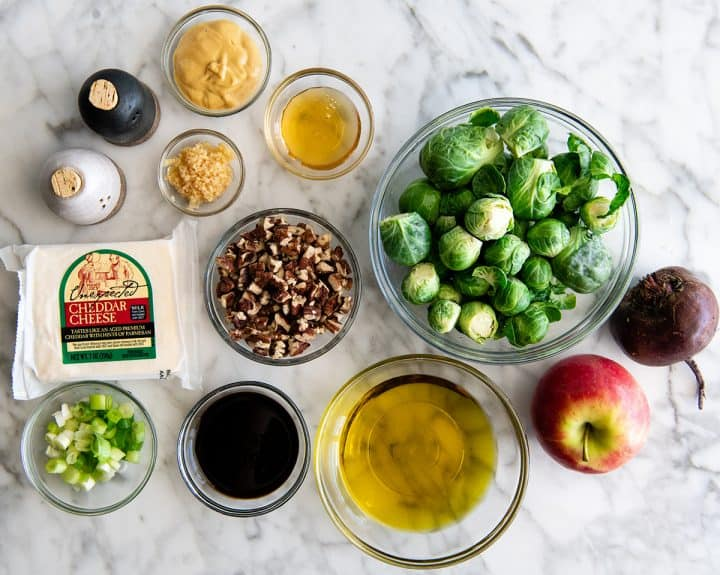 overhead photo of the ingredients in this Brussel Sprouts Salad Recipe