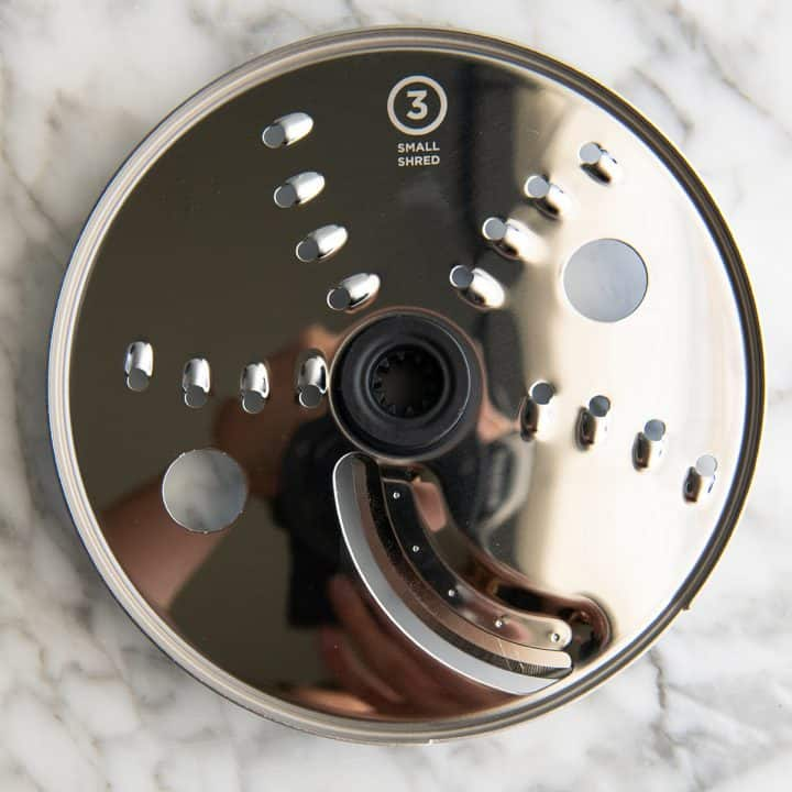 overhead view of the small shred disc for the Vitamix food processor