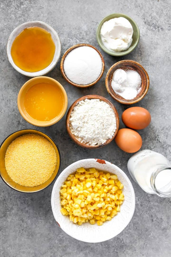 overhead view of the ingredients in this cornbread recipe