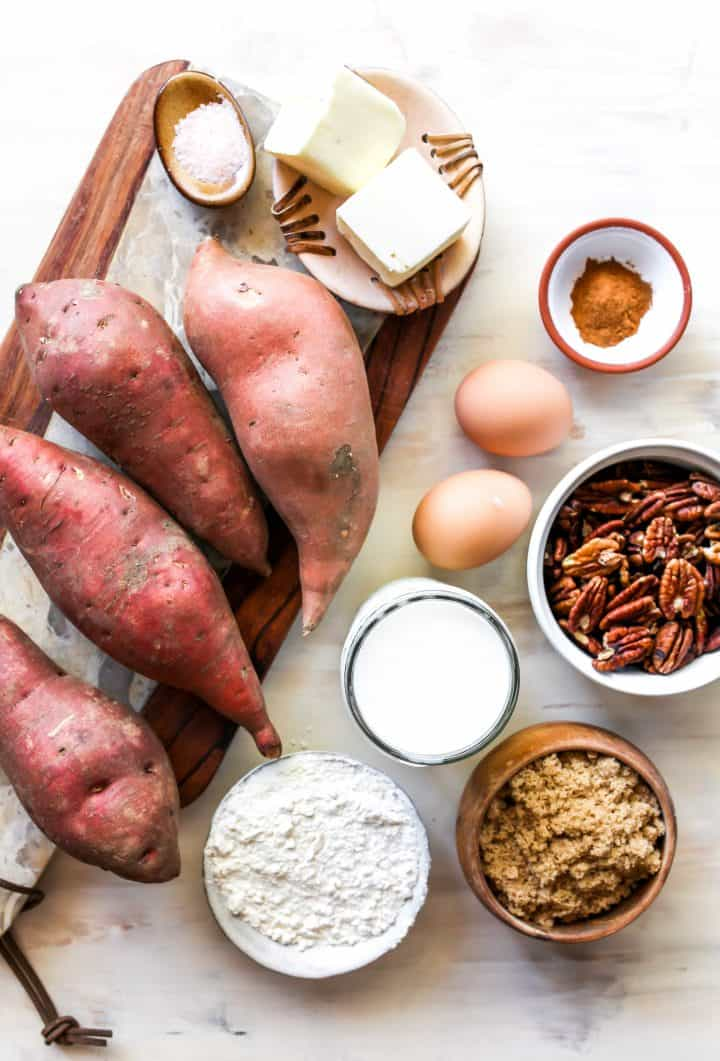 overhead view of the ingredients in this sweet potato casserole recipe