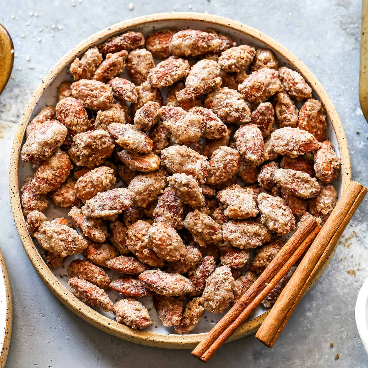 overhead view of a bowl of candied almonds