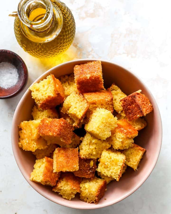 overhead view of the ingredients in this Cornbread Croutons recipe