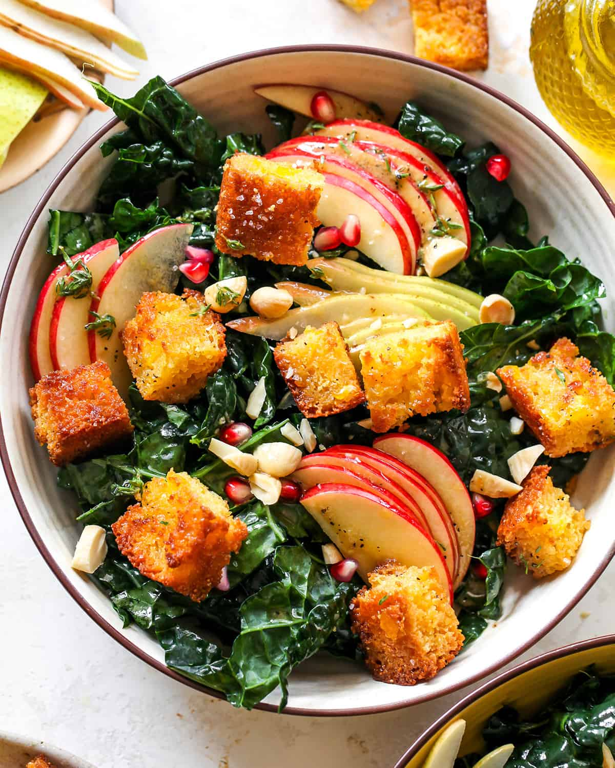 overhead view of a salad with Cornbread Croutons