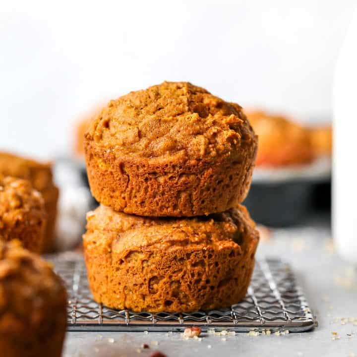 front view of a stack of two Healthy Pumpkin Muffins