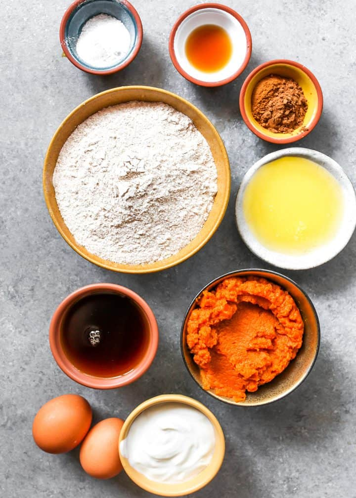 overhead view of the ingredients in this Healthy Pumpkin Muffin recipe