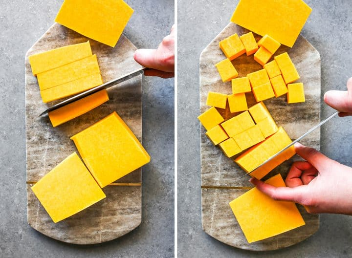 two overhead photos showing How to Cut a Butternut Squash
