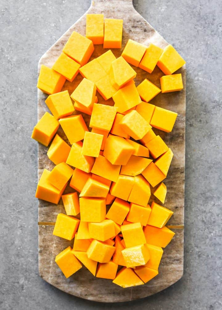 overhead photo showing How to Cut a Butternut Squash