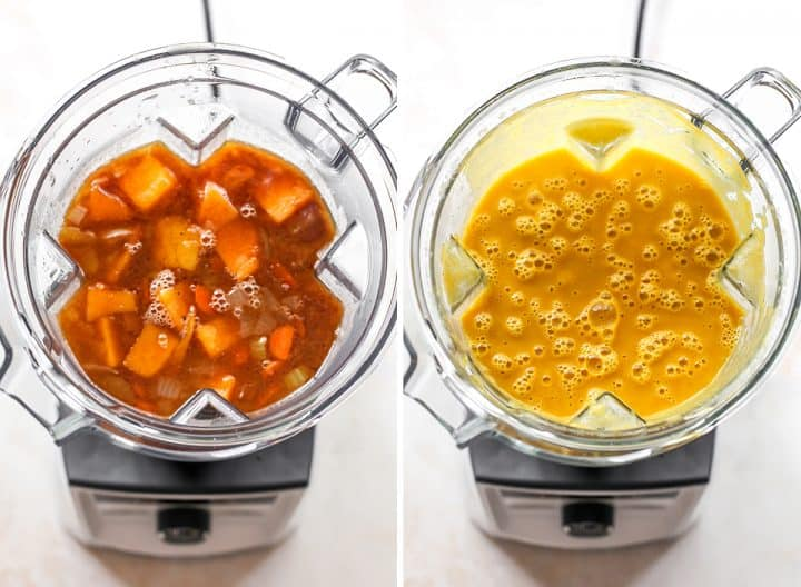 two overhead photos showing how to make butternut squash soup in the blender