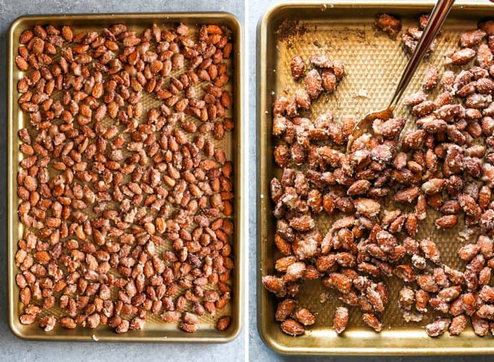 two overhead photos showing How to Make Candied Almonds