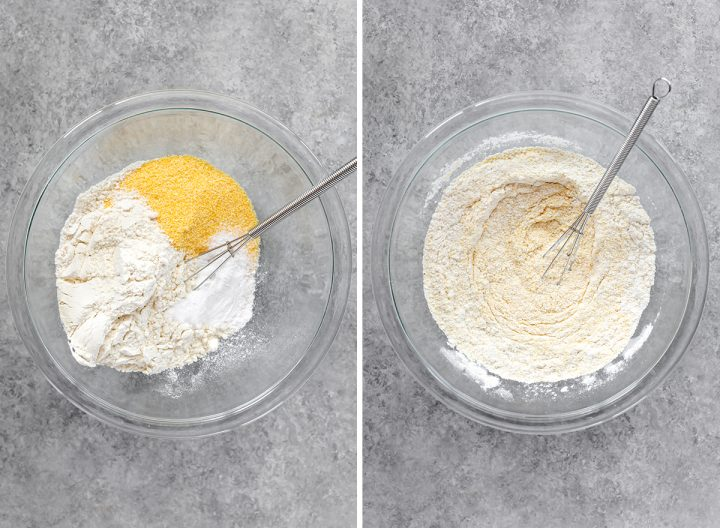 two overhead photos showing How to Make Cornbread