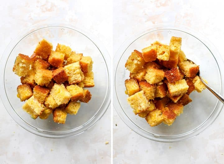 two overhead photos showing how to make Cornbread Croutons