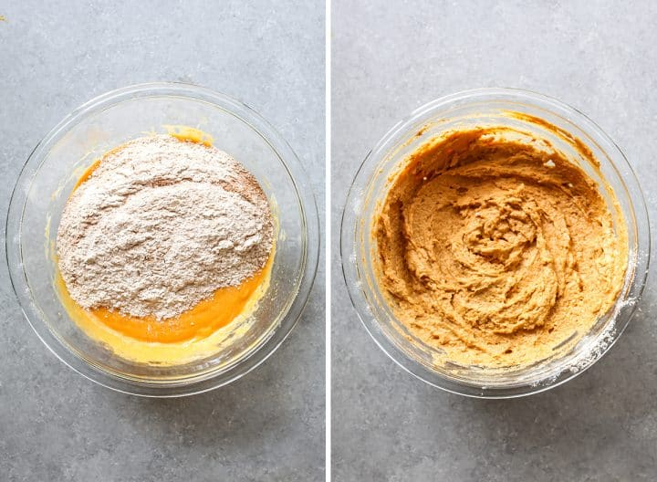 two overhead photos showing how to make Healthy Pumpkin Muffins
