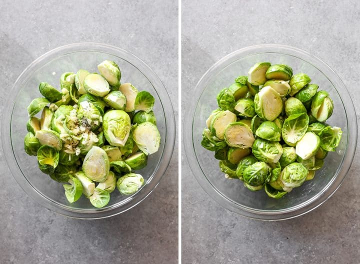 two overhead photos showing how to make Brussel sprouts with bacon