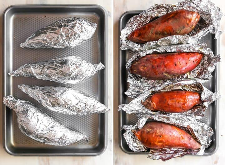 two overhead photos showing How to Make Sweet Potato Casserole