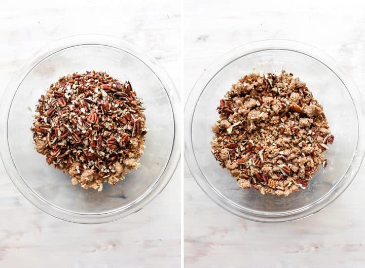 two overhead photos showing How to Make Sweet Potato Casserole with pecans