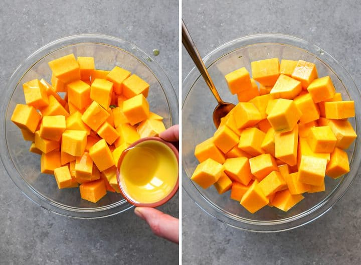 two overhead photos showing How to Cook Butternut Squash
