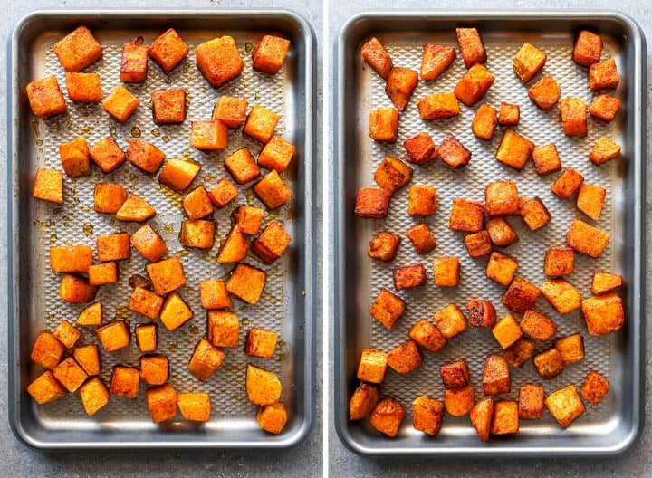 two overhead photos showing How to Roast Butternut Squash