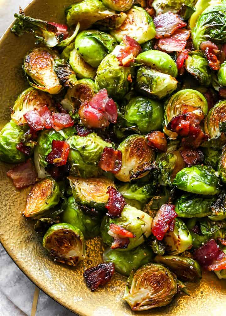 up close view of a plate of Roasted Brussel Sprouts with Bacon