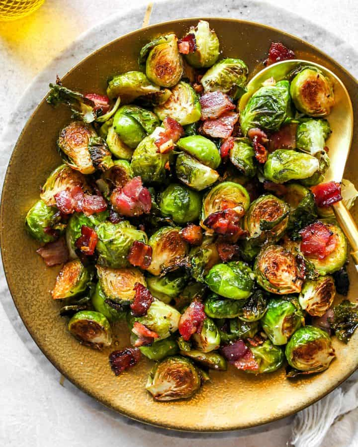 overhead view of a plate of Brussel Sprouts with Bacon