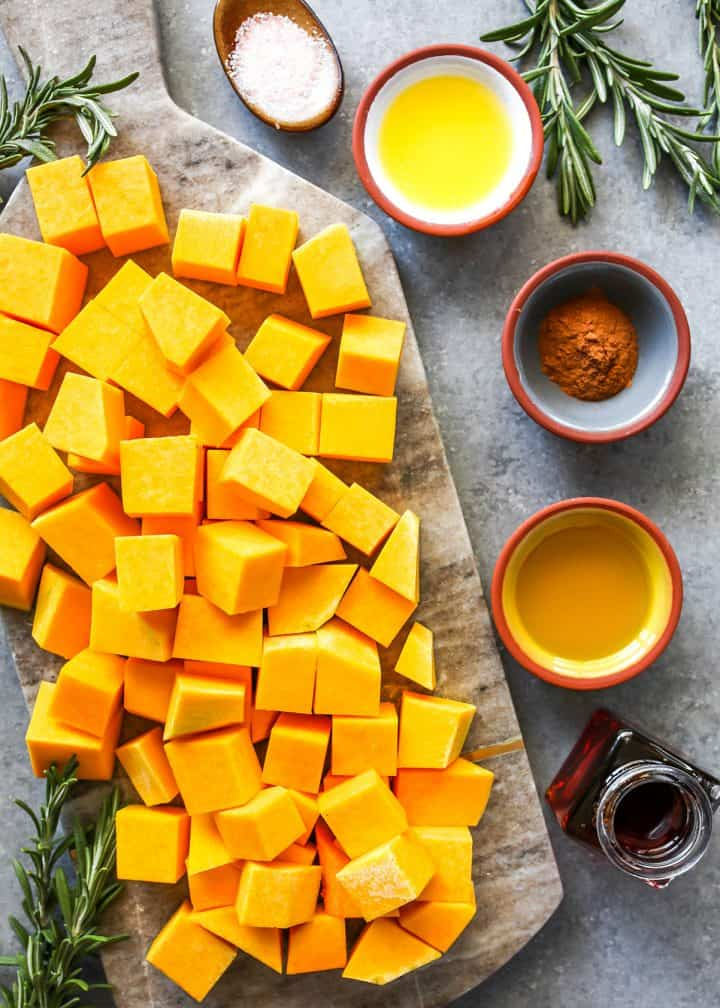 overhead view of the ingredients in this roasted butternut squash recipe