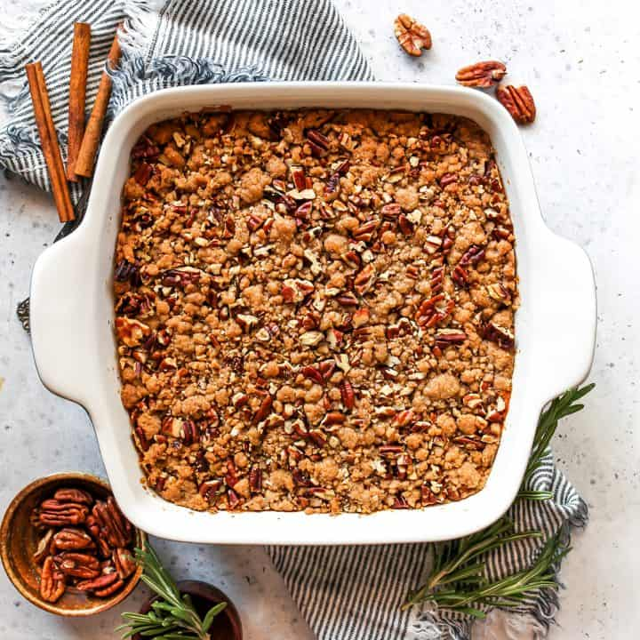 overhead view of a sweet potato casserole in a baking dish