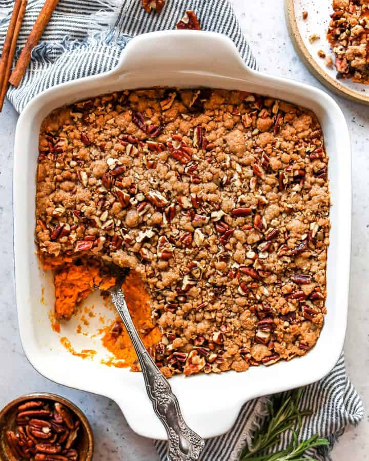 Overhead view of sweet potato casserole in a baking dish