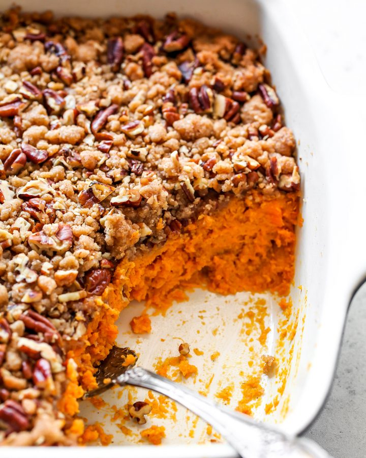 up close view of a sweet potato casserole and it's layers