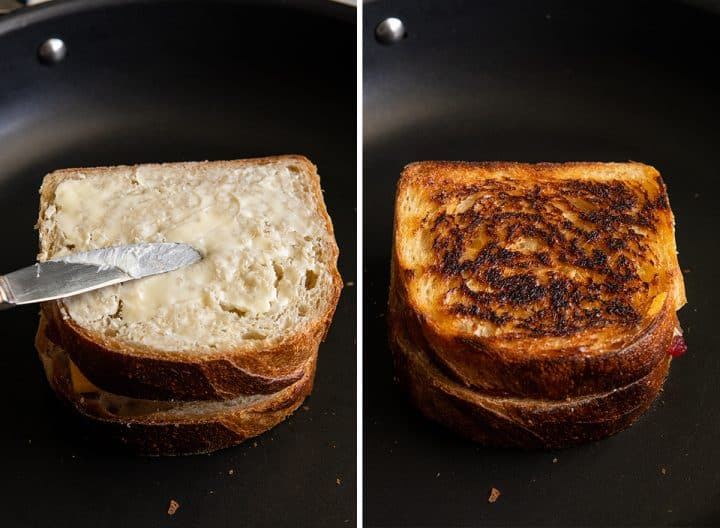 two overhead photos showing How to Make a Turkey Cranberry Sandwich