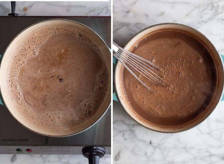 two overhead photos showing how to make hot chocolate