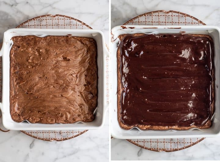 two overhead photos showing how to make Peppermint Brownies