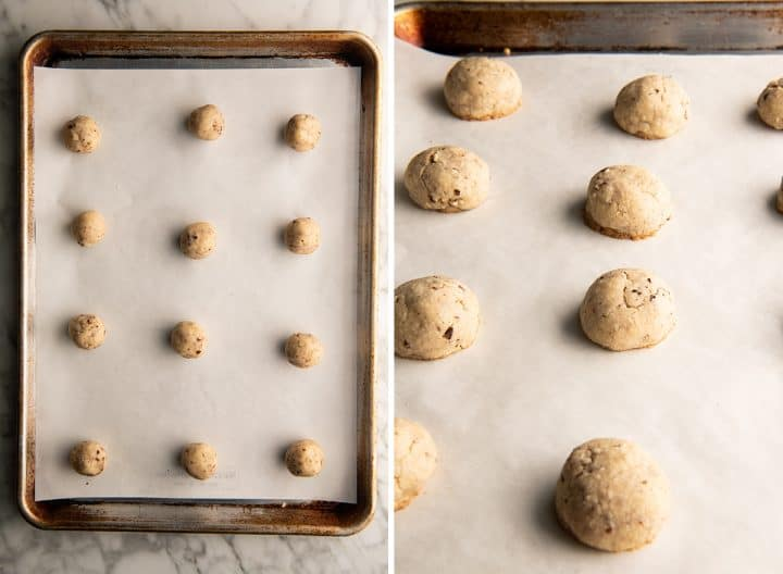 two overhead photos showing how to make snowball cookies