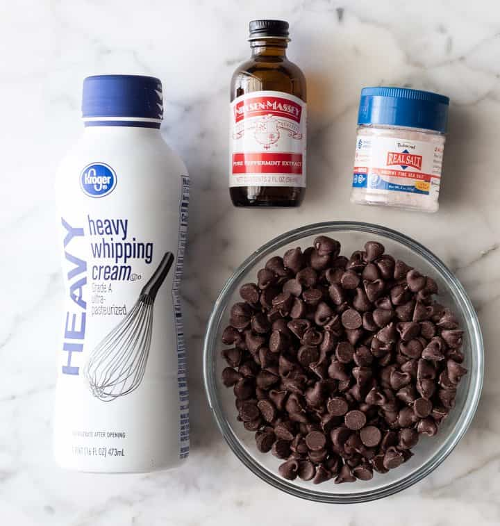 overhead photo of the ingredients in the chocolate peppermint ganache