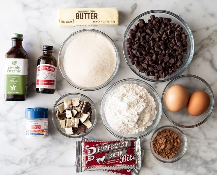overhead photo of the ingredients in this Peppermint Brownie recipe