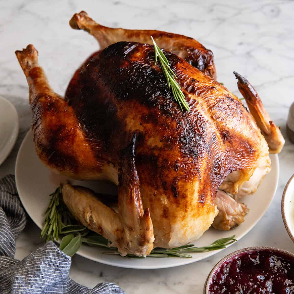 front view of a roast turkey on a serving plate