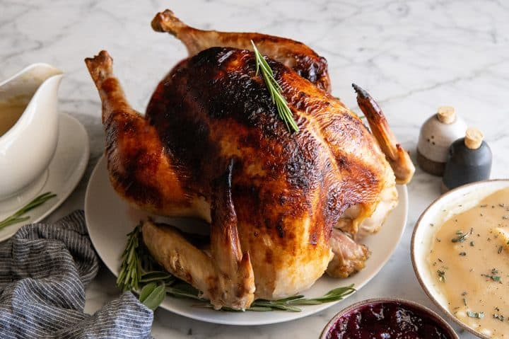 front view of a roast turkey on a serving platter