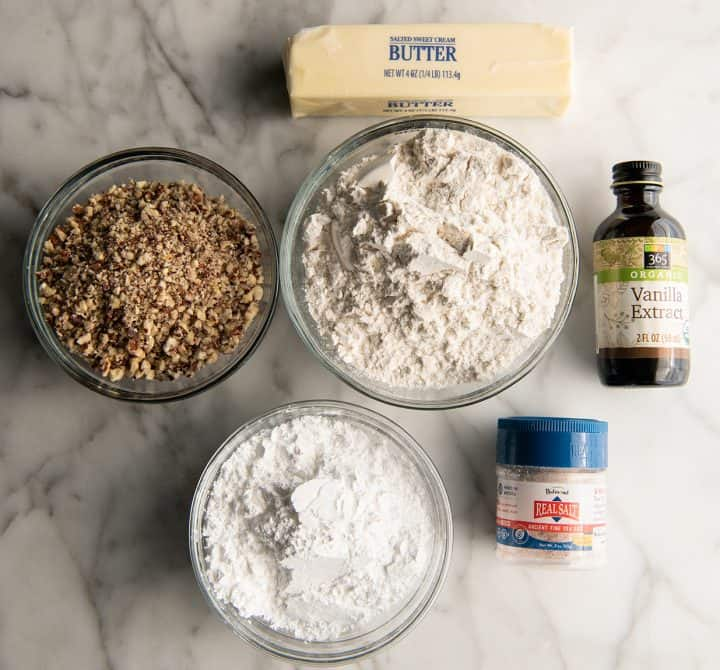 overhead view of the ingredients in this snowball cookie recipe