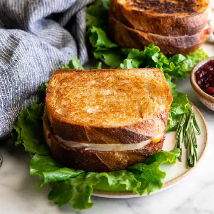 front view of a turkey cranberry sandwich on a plate