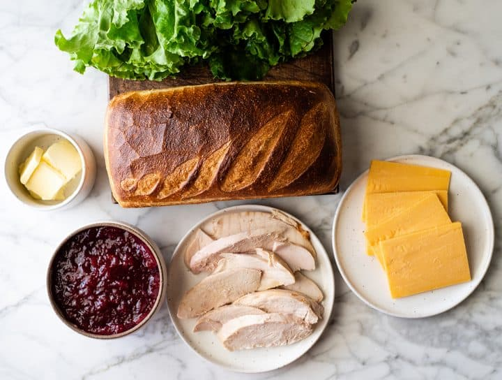 overhead photo of the ingredients in this turkey cranberry sandwich recipe
