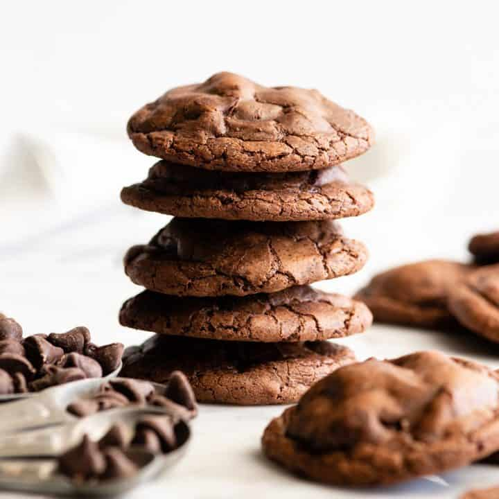 front view of a stack fo 5 Chocolate Brownie Cookies
