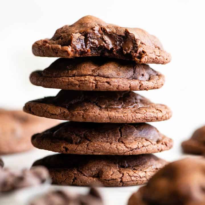 stack of 5 Chocolate Brownie Cookies, the top one with a bite taken out of it