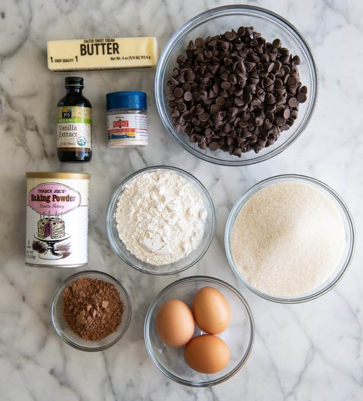 overhead view of the ingredients in this Chocolate Brownie Cookies recipe