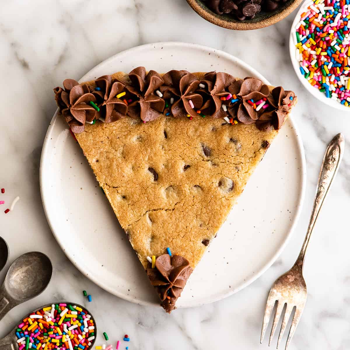 overhead view of a pice of Chocolate Chip Cookie Cake Recipe