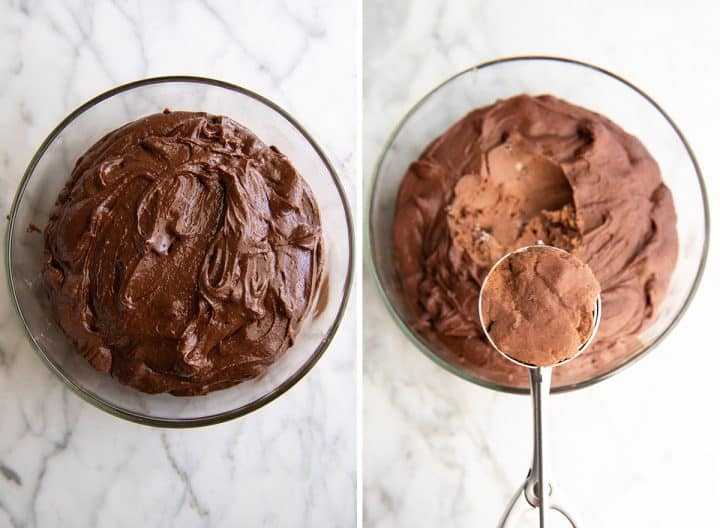 two overhead photos showing How to make Chocolate Brownie Cookies