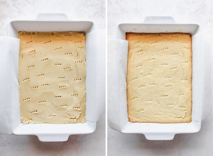 two overhead photos showing how to make Millionaire Shortbread Bars