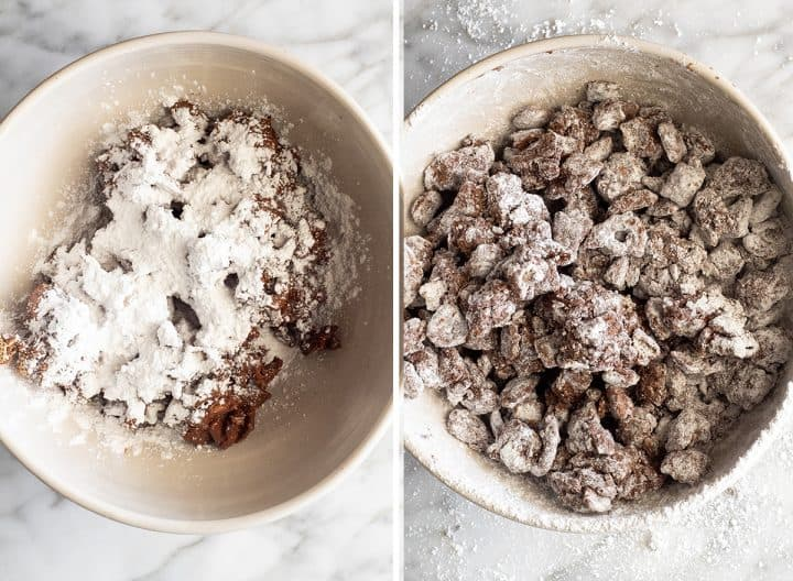 two overhead photos showing how to make Reindeer Food (Christmas Puppy Chow)