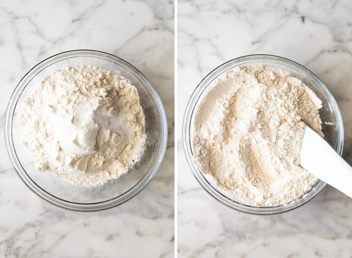 two overhead photos showing how to make White Chocolate Chip Cookies