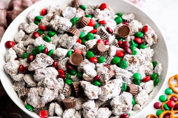up close photo of Reindeer Food (Christmas Puppy Chow)
