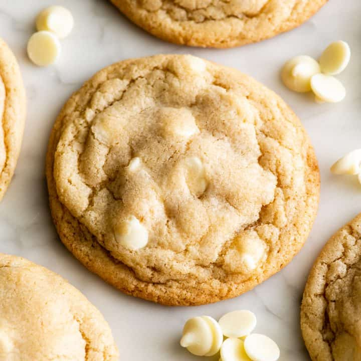 up-close view of a White Chocolate Chip Cookie