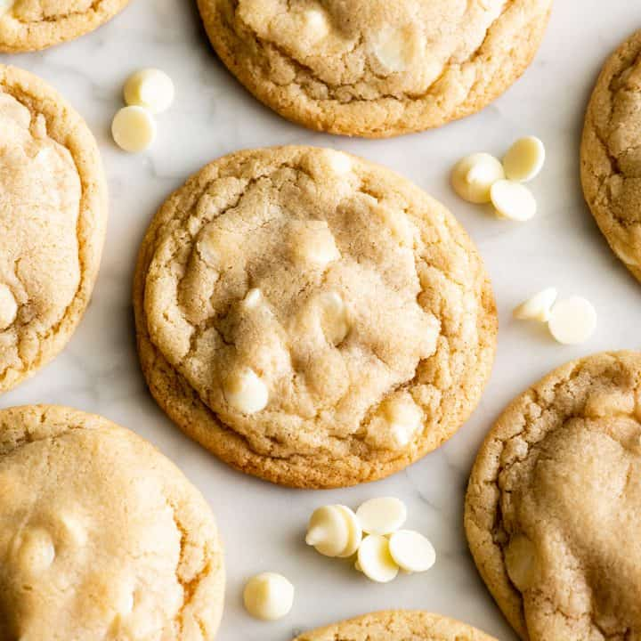 front view of 5 White Chocolate Chip Cookiess