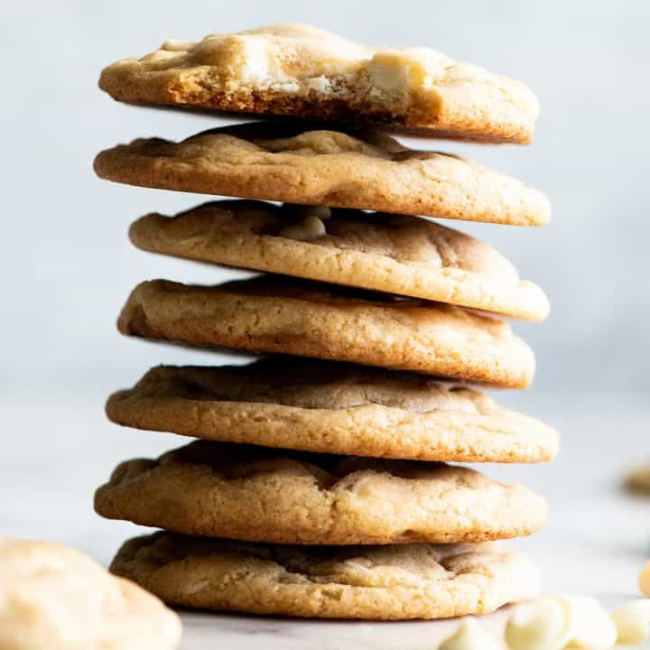 front view of a stack of 7 White Chocolate Chip Cookies